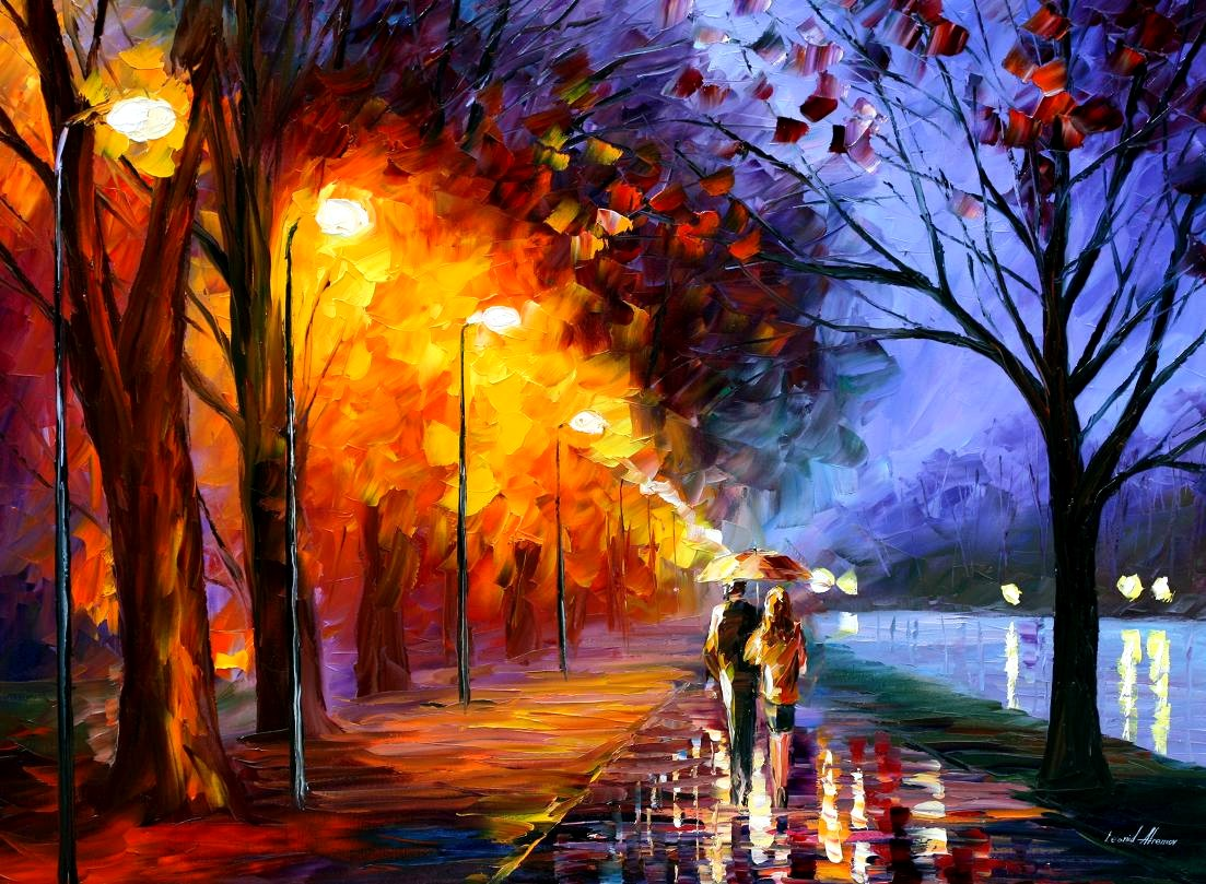Lovers are in raining weather that is romantical painting. Fall in