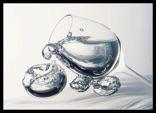 Glass and water drops photo