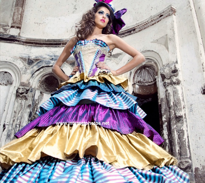 Colorful designer clothes dress photo