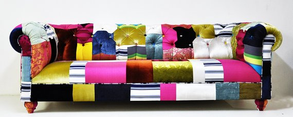 Colorful long sofa